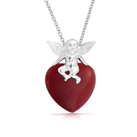 Cupid Heart Shape Red Jade Pendant Necklace For Women For Girlfriend 925 Sterling Silver with (Red Jade Apple Pendant)