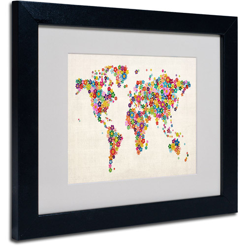 "Trademark Fine Art ""Flowers World Map"" Matted Framed Art by Michael Tompsett"