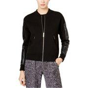 Michael Kors Mens Faux-Leather Bomber Jacket, Black, X-Large (Regular)