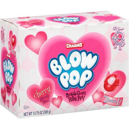 79bd5503db40 Charms Blow Pops Valentine Cherry Bubble Gum Filled Lollipops, 13.75 Oz.,  25 Count