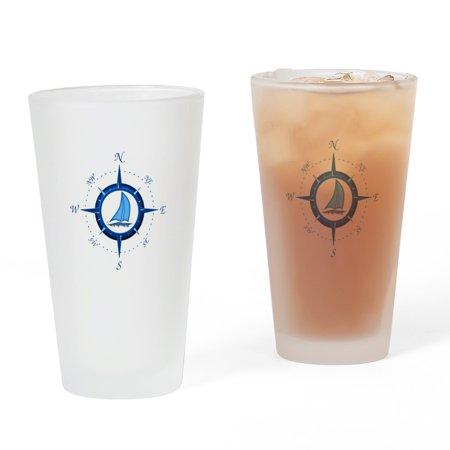 CafePress - Sailboat And Blue Compass - Pint Glass, Drinking Glass, 16 oz. - Sail Glass