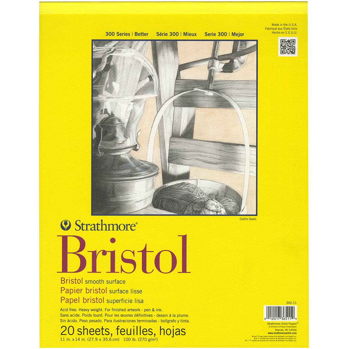 "Strathmore Bristol Smooth Paper Pad 11""x14"", 20 Sheets"