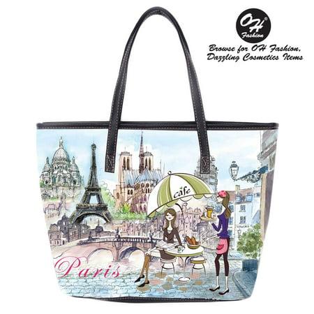 OH Fashion Women Handbag Tote Lucky Theresa PU Leather Barrel Handbag Shoulder Bag Tote Purse Cities Design Travel Bag Adventure Awaits (Lucky Slip Satchel)