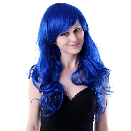 HDE Womens Long Wavy Wig Curly Glamour Hair Style for Halloween Cosplay (Curly Top Wig)
