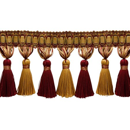 "5 Yard Value Pack of Elegant 3 3/4"" Long Wine (deep red), Gold Tassel Fringe - Carmine Gold 1253 (15 Ft / 4.5 Meters)"