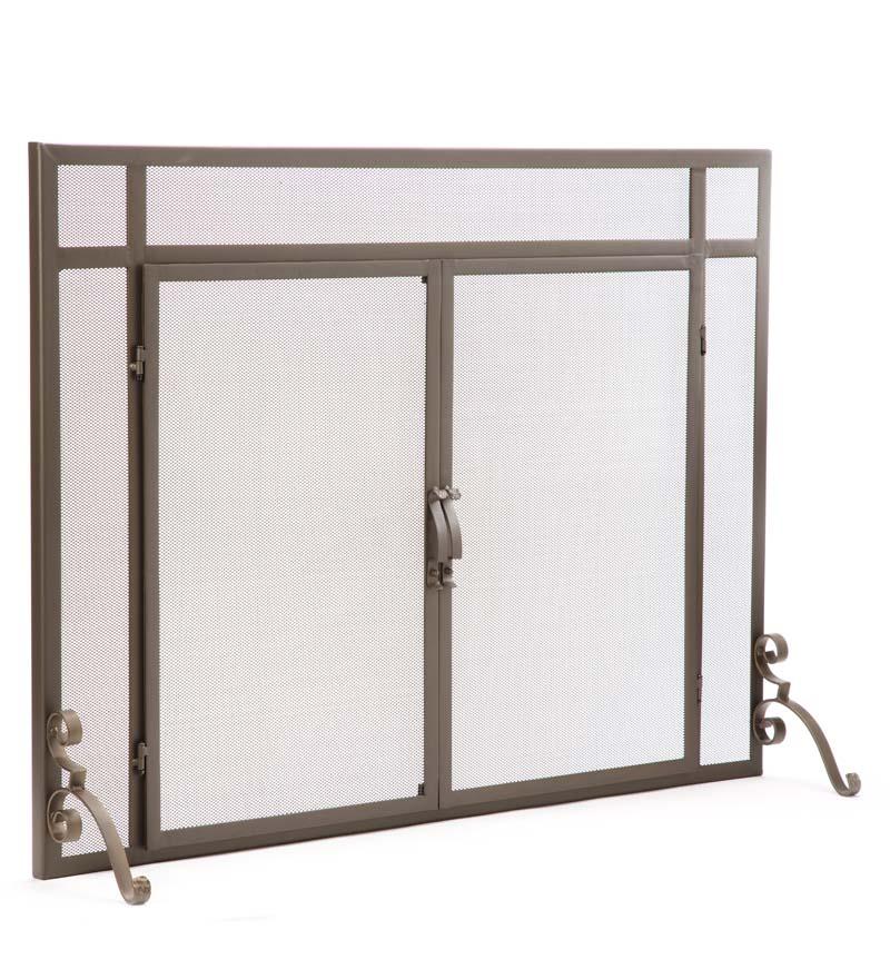 2-Door Steel Flat Guard Fireplace Screen