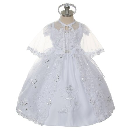 Rain Kids Baby Girls White Embroidered Brooch Headband Cape Baptism Dress - Girls Cape
