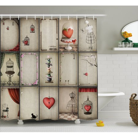 Vintage Shower Curtain, Valentines Day Inspired Hearts in Captivity Retro Elements Dresses and Cat, Fabric Bathroom Set with Hooks, 69W X 70L Inches, Tan Vermilion Red, by Ambesonne - Heart Shower Curtain