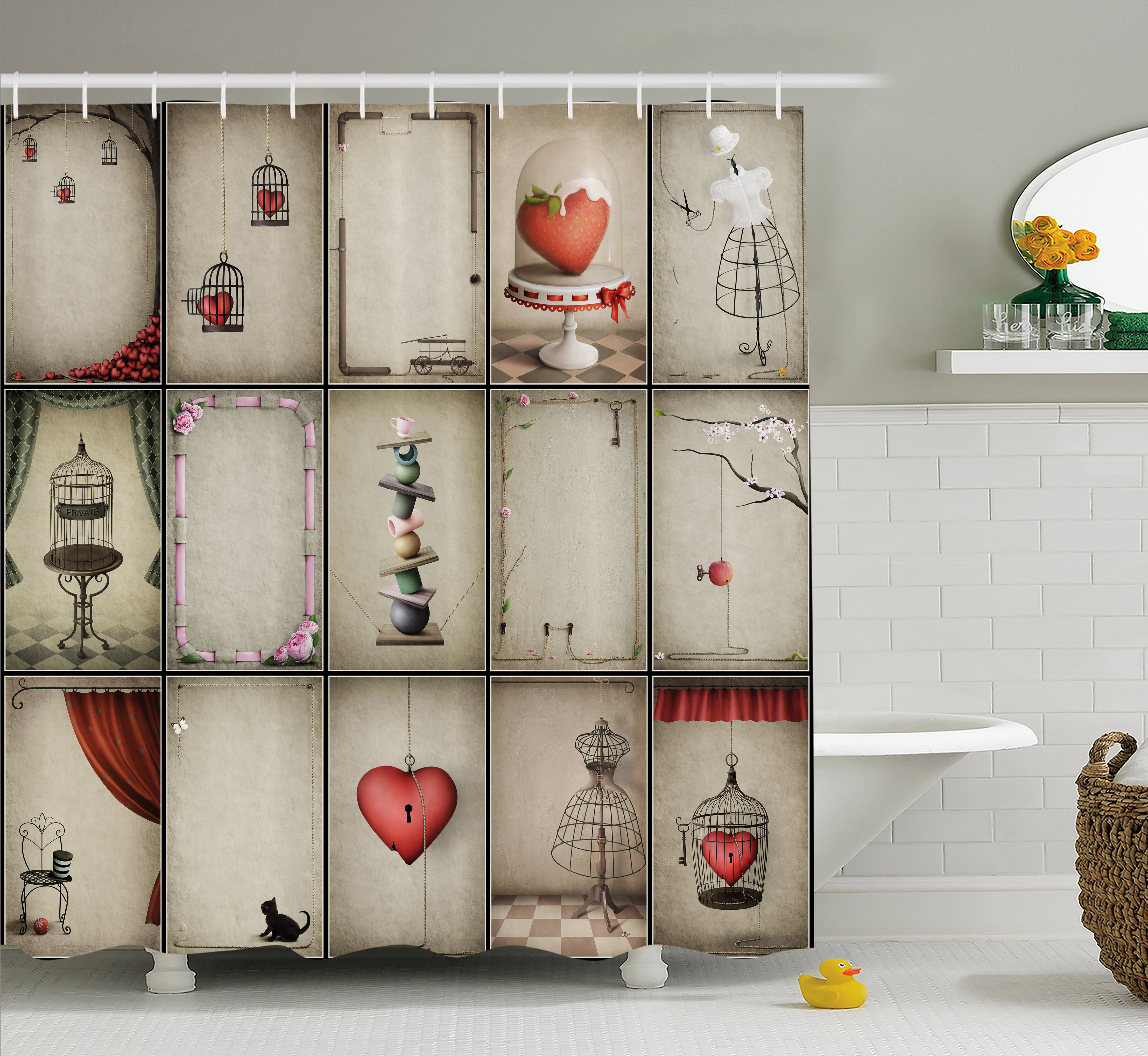 Vintage Shower Curtain, Valentines Day Inspired Hearts in Captivity Retro Elements Dresses and Cat, Fabric Bathroom Set with Hooks, 69W X 75L Inches Long, Tan Vermilion Pink, by Ambesonne