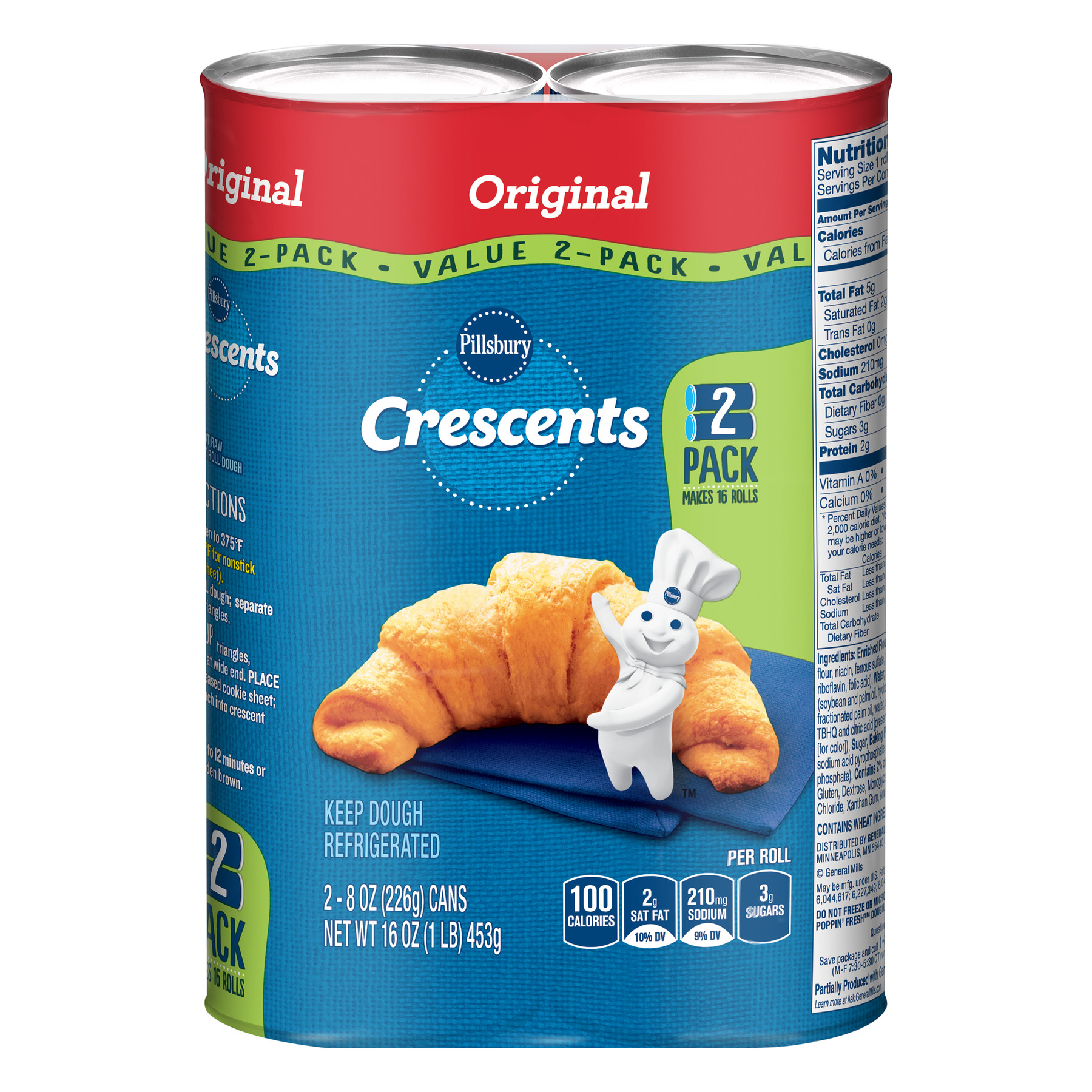 Pillsbury Crescent Rolls Original, 2 Pack, 16 Ct, 16 oz