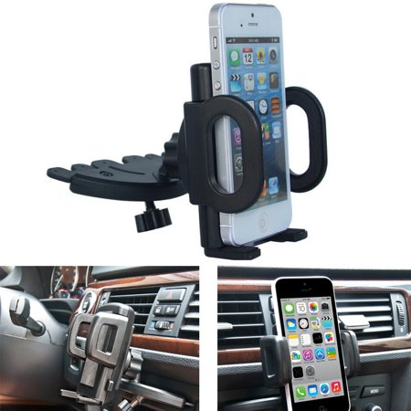 AGPTEK Car CD Dash Slot Mount Bracket Holder Dock For GPS iPhone Cellphone Rotatable ()