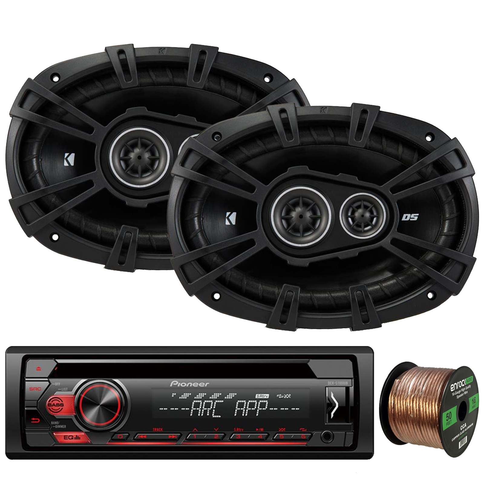 "Pioneer DEH-S1100UB Single-DIN CD Player AM/FM Car Stereo Receiver, 2 x Kicker 43DSC69304 DS-Series 6x9"" 360W 3-Way Car Audio Coaxial Speakers, 16-Gauge 50Ft. Speaker Wire"