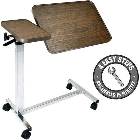 Vaunn Medical Adjustable Tilt Overbed Bedside Table with Wheels for Hospital and Home Use