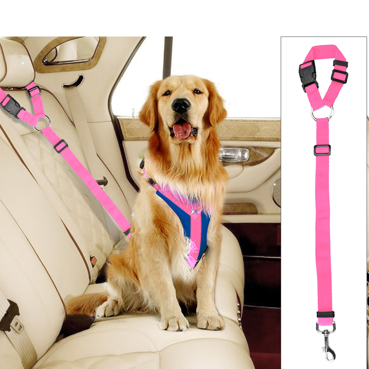 Adjustable Pet Leash Seat Belt Car Safety Lead for Dogs and Cats, Seatbelt Harness for all Vehicles
