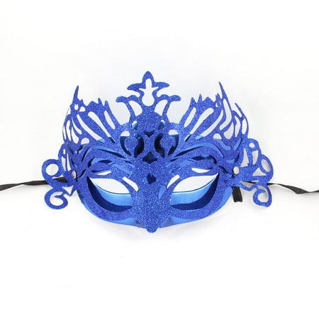 Unique Bargains Ladies Plastic Self Tie Ribbon Band Glitter Blue Mardi Gras Party Mask