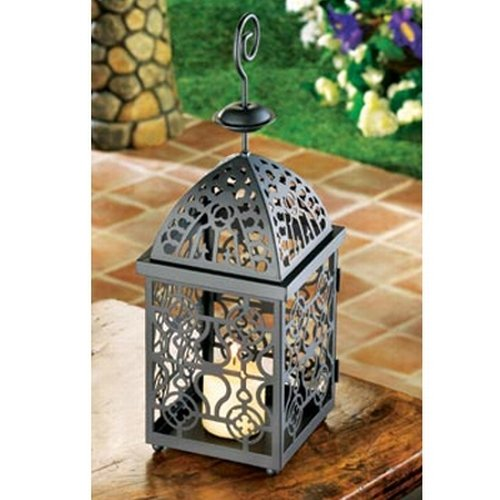 Candle Lantern Holder Stand Metal Antique Free Standing