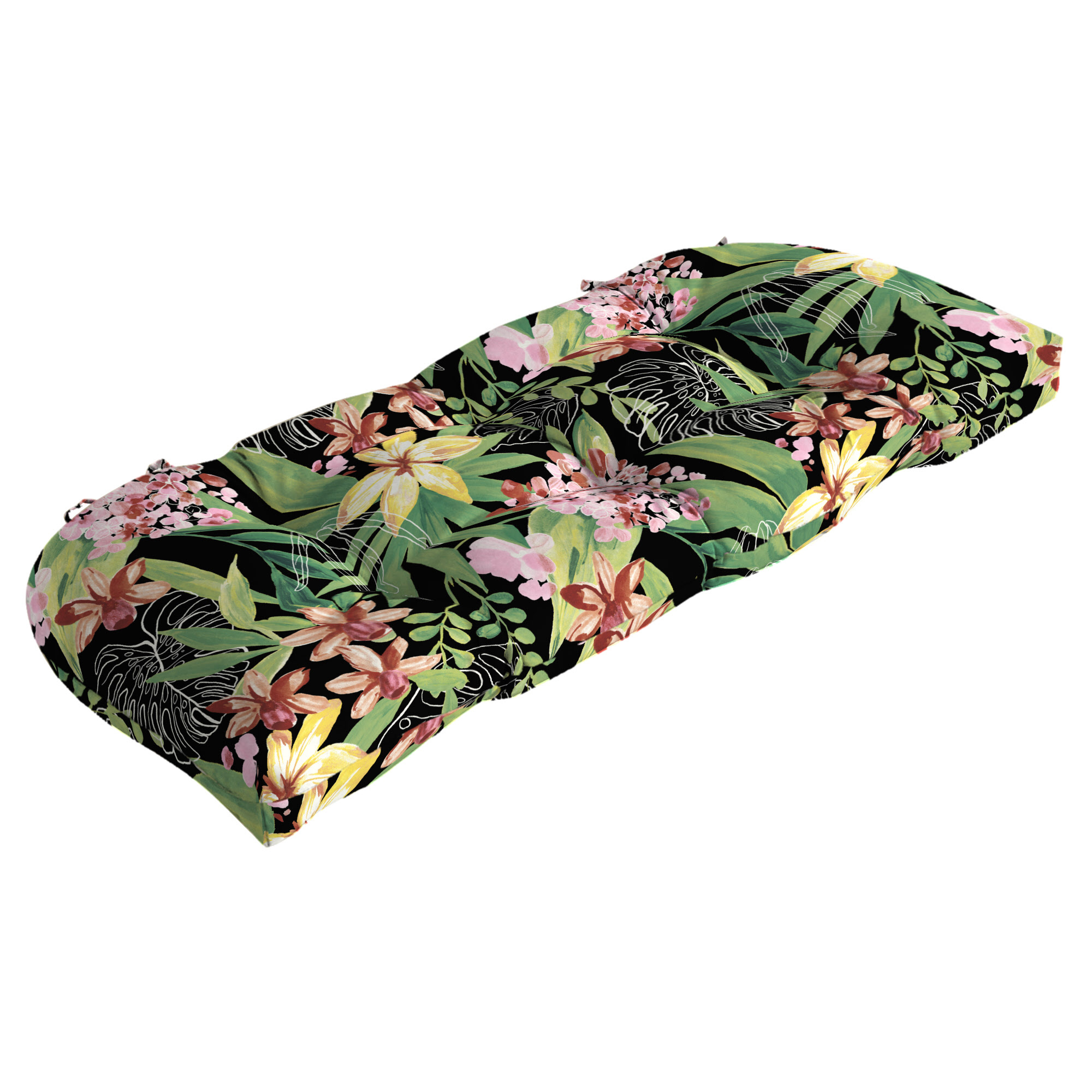 Better Homes & Gardens Black Tropical 18 x 41.5 in. Outdoor Wicker Settee Cushion with EnviroGuard