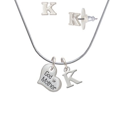 (Small ''Godmother'' Heart with Clear Crystal - K Initial Charm Necklace and Stud Earrings Jewelry Set)