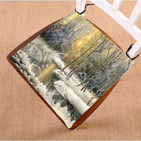 PHFZK Landscape Nature Scenery Chair Pad, Winter Snow View with the Wood River at Sunrise Time Seat Cushion Chair Cushion Floor Cushion Two Sides Size 16x16