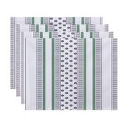 """Simply Daisy 18"""" x 14"""" Comb Dot Stripe Print Placemat (Set of 4)"""
