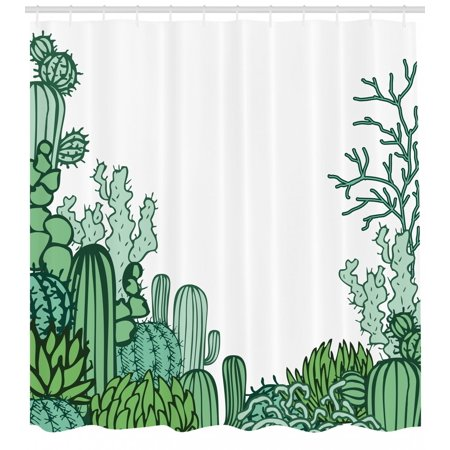 Cactus Shower Curtain Arizona Desert Themed Doodle Staghorn Buckhorn Ocotillo Plants Fabric Bathroom Set With Hooks Green Pale Seafoam