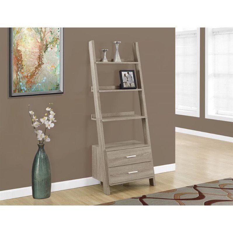 Monarch 4-Shelf Ladder Bookcase w/ 2 Storage Drawers, Dark Taupe