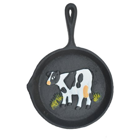 Cow Decor - Cast Iron Skillet Wall Hanging - Holstein Dairy Cow - 7.75