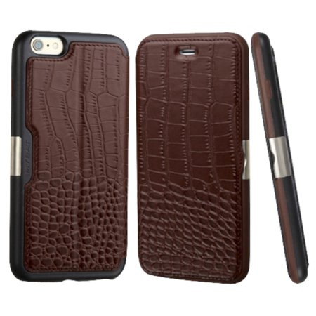 wholesale dealer f8058 96fa5 MyBat Crocodile Folio Genuine Leather Wallet Case w/card holder For Apple  iPhone 6 Plus/6s Plus - Brown/Black