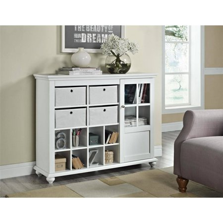 Altra Furniture Reese Park Storage Cabinet with 4 Fabric Bins and Glass Door, White ()