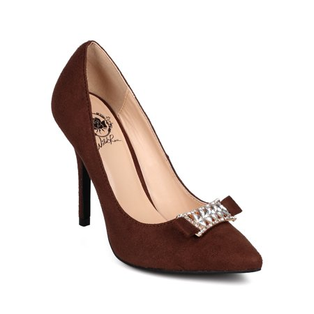 Wild Rose DK96 Women Suede Pointy Toe Rhinestone Bow Stiletto Pump ()