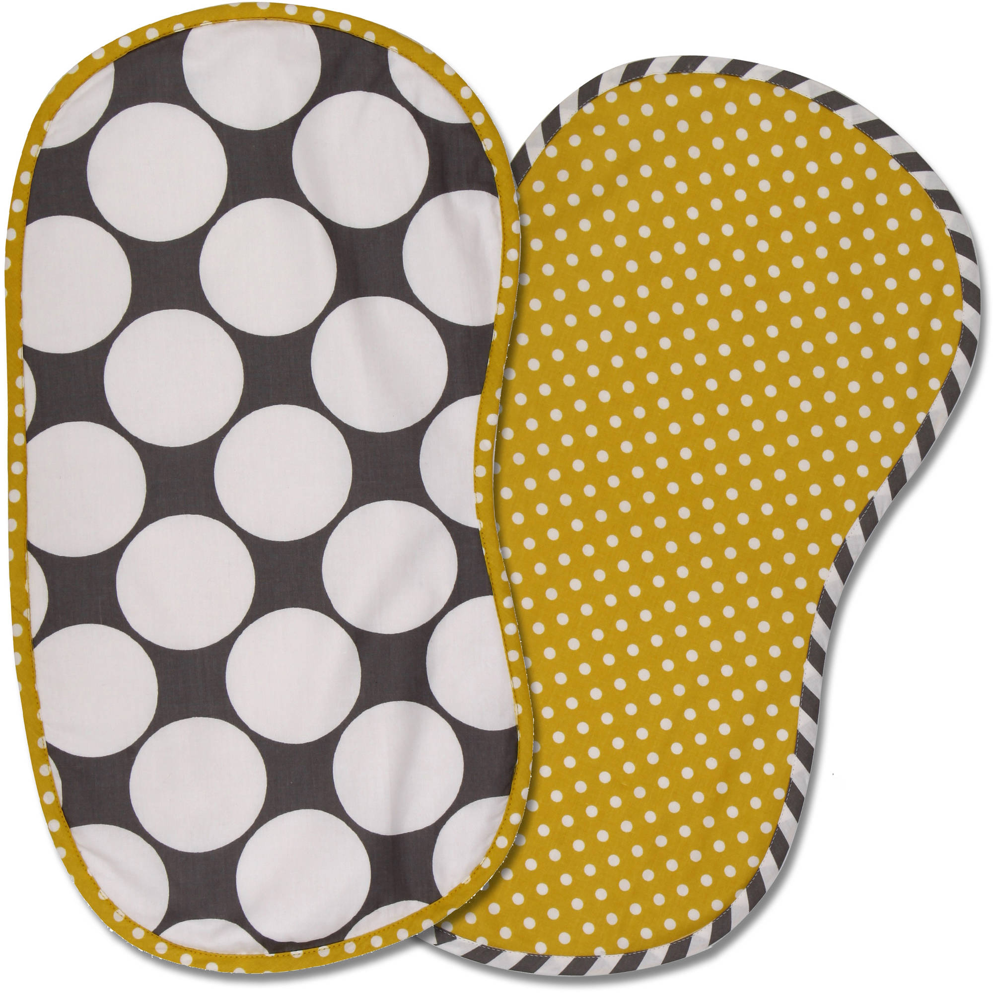 Bacati Dots/Pin Stripes Burpies, Set of 2 (Choose Your Color)