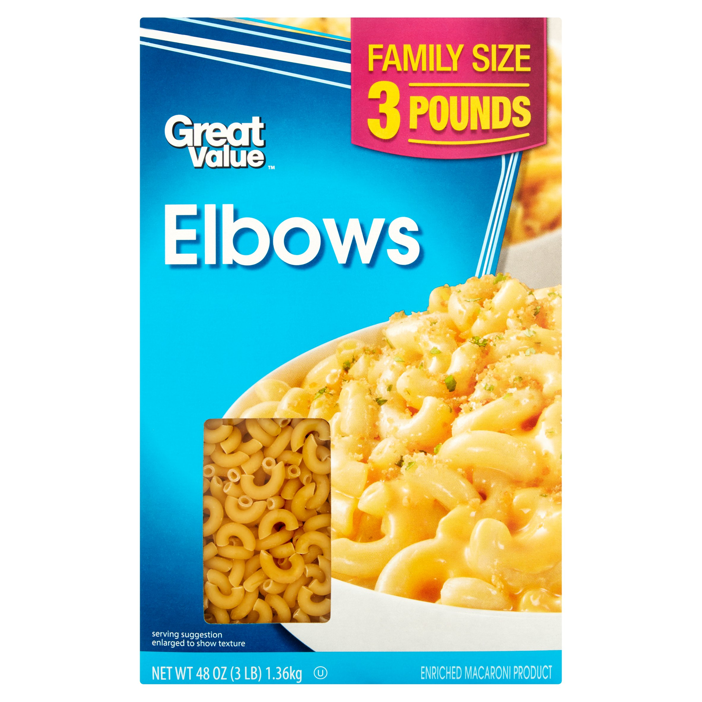 (2 pack) Great Value Elbows, Family Size, 3 lb