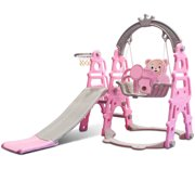 Toddler Slide and Swing Set, 3-in-1 Baby Climber Sliding Playset w/Basketball Hoop, Indoor Outdoor Playground Toy Activity Center in Backyard for Kids Ages 1~6