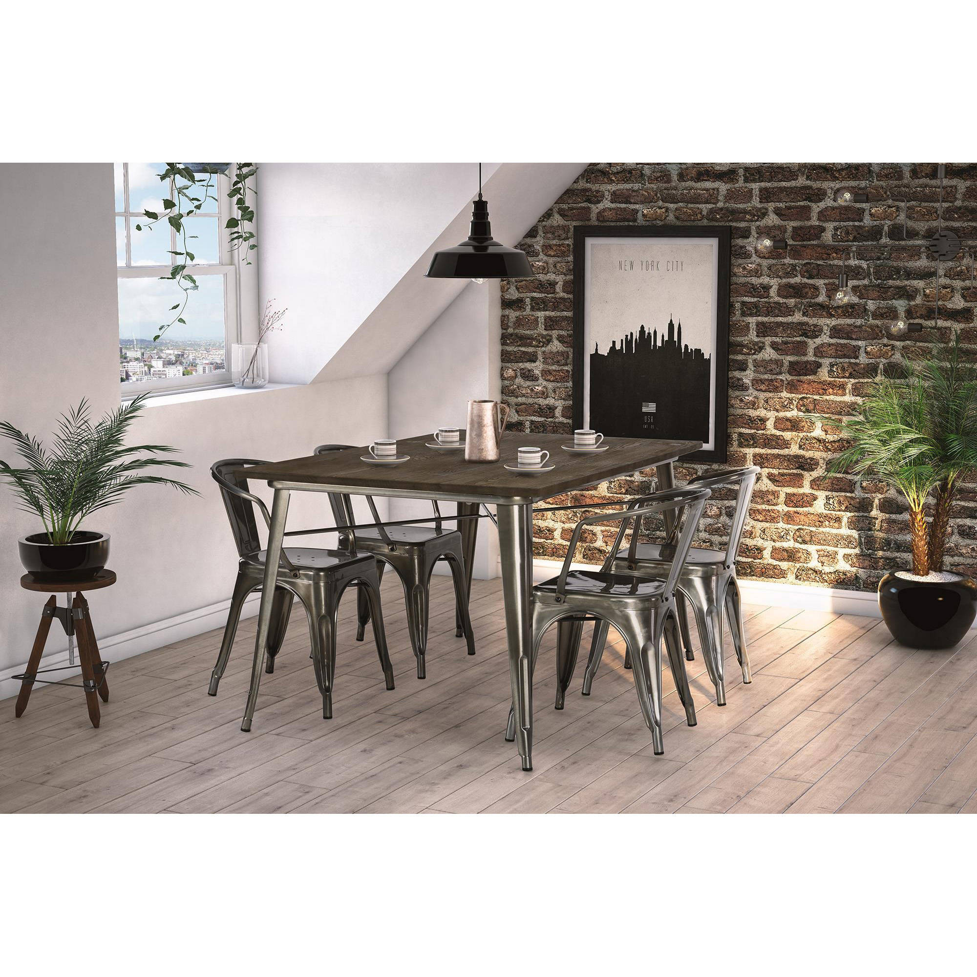 DHP Fusion Dining Table, Rectangular, Antique Gun Metal/Wood