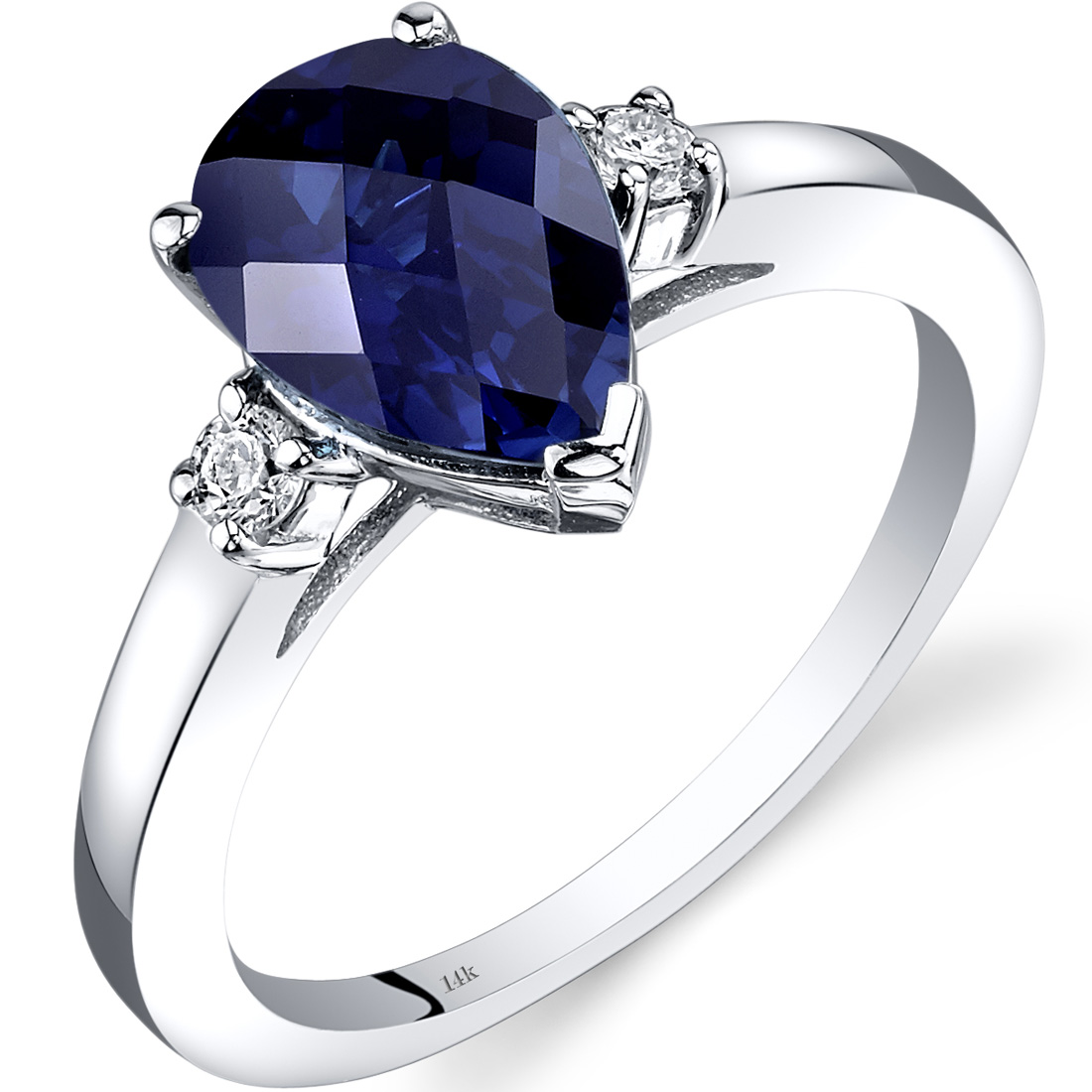 Peora 2.5 Carat T.G.W. Pear-Cut Created Blue Sapphire and Diamond Accent 14kt White Gold Ring Size 7
