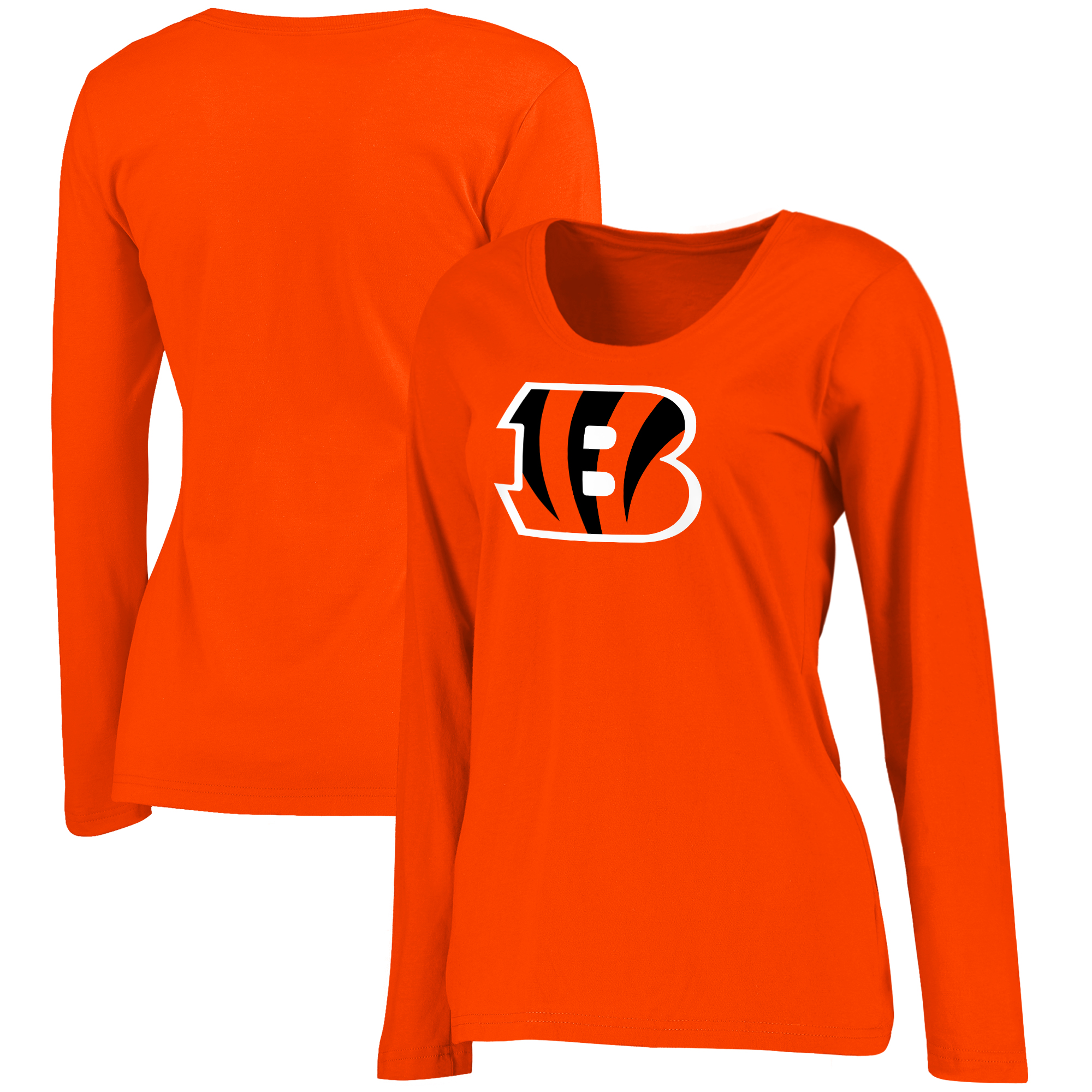Cincinnati Bengals NFL Pro Line by Fanatics Branded Women's Primary Logo Plus-Size Long-Sleeve T-Shirt - Orange