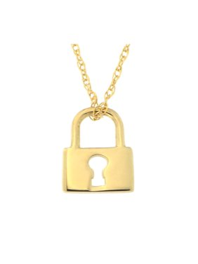 Beauniq 14k Yellow Gold Tiny Lock Pendant Necklace