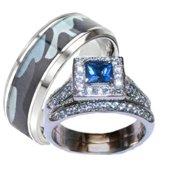 his hers blue and clear stone wedding ring set mens blue camouflage band - Camo Wedding Ring Sets His And Hers