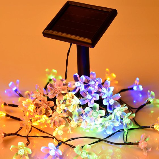 Solar Outdoor String Lights Waterproof Multi Color 50 Led