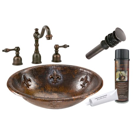 Premier Copper Products - BSP2_LO19RFLDB Bathroom Sink, Faucet and Accessories Package