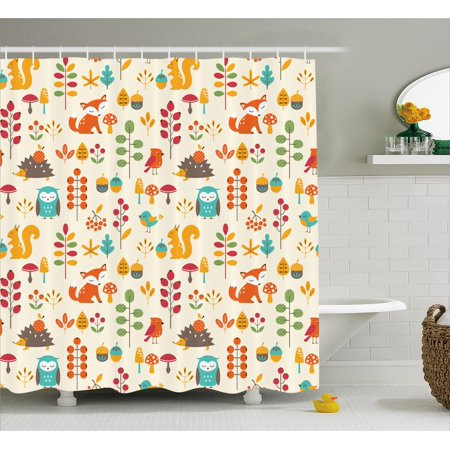 Children Shower Curtain, Cute Kids Autumn Pattern with Owl Fox Squirrel Birds Animal Leaves Artsy Print, Fabric Bathroom Set with Hooks, Multicolor, by Ambesonne](Cute Shower Curtain)