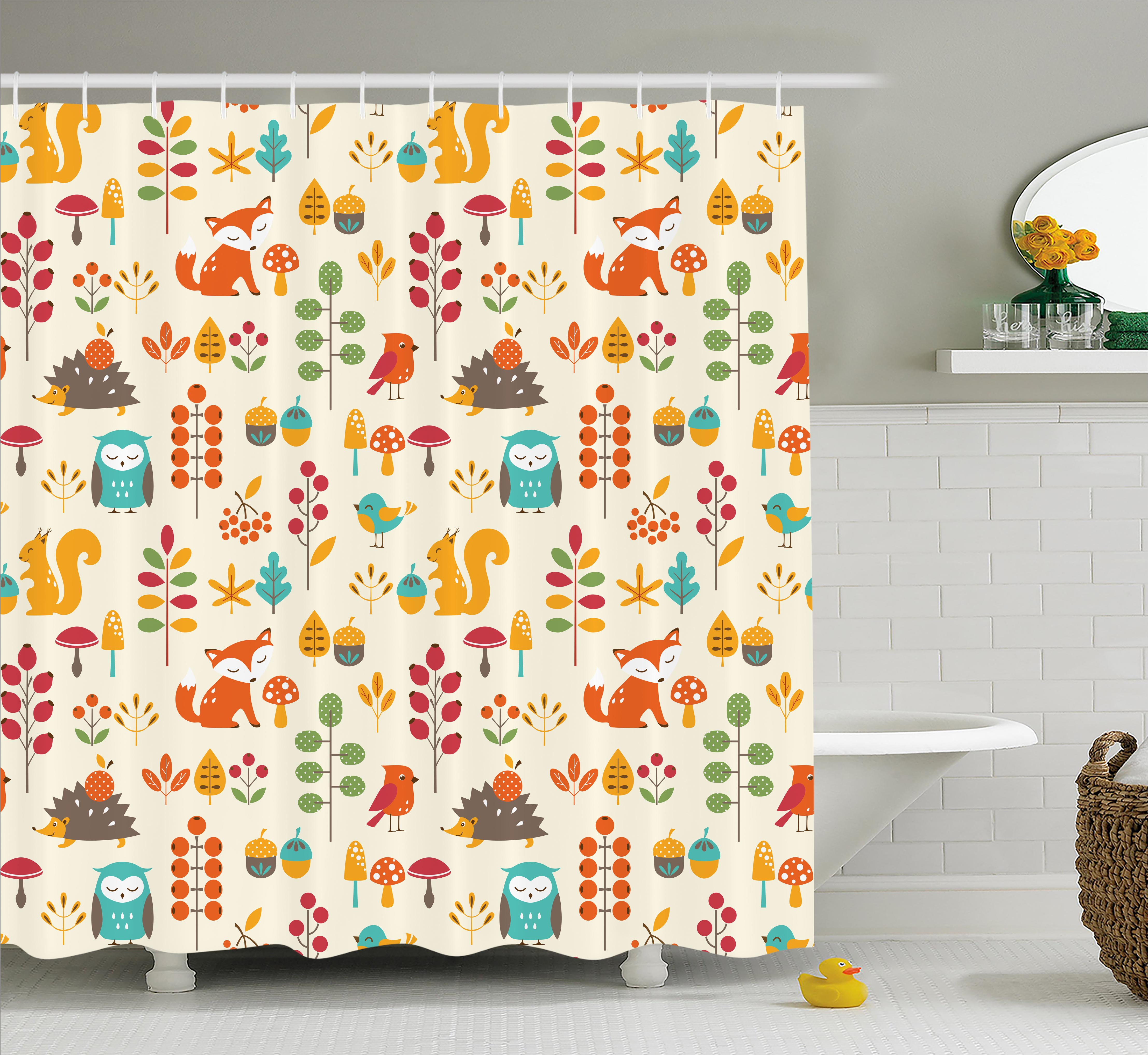 Children Shower Curtain, Cute Kids Autumn Pattern with Owl Fox Squirrel Birds Animal Leaves Artsy Print, Fabric Bathroom Set with Hooks, 69W X 70L Inches, Multicolor, by Ambesonne