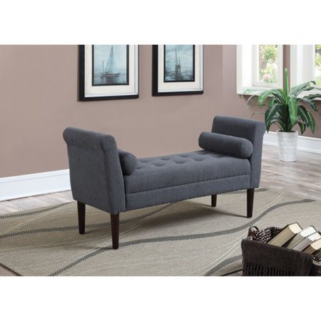 AC Pacific Betty Upholstered Accent Bedroom Bench with Arms