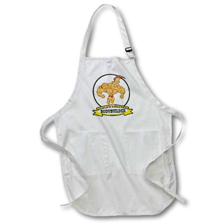 3dRose Funny Worlds Greatest Bodybuilder Men Cartoon, Medium Length Apron, 22 by 24-inch, With Pouch Pockets](Funny Bodybuilder)