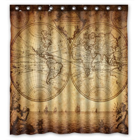 YKCG Vintage World Map Ancient Nautical Chart Navigation Voyage Sailing Waterproof Fabric Bathroom Shower Curtain 66x72 inches