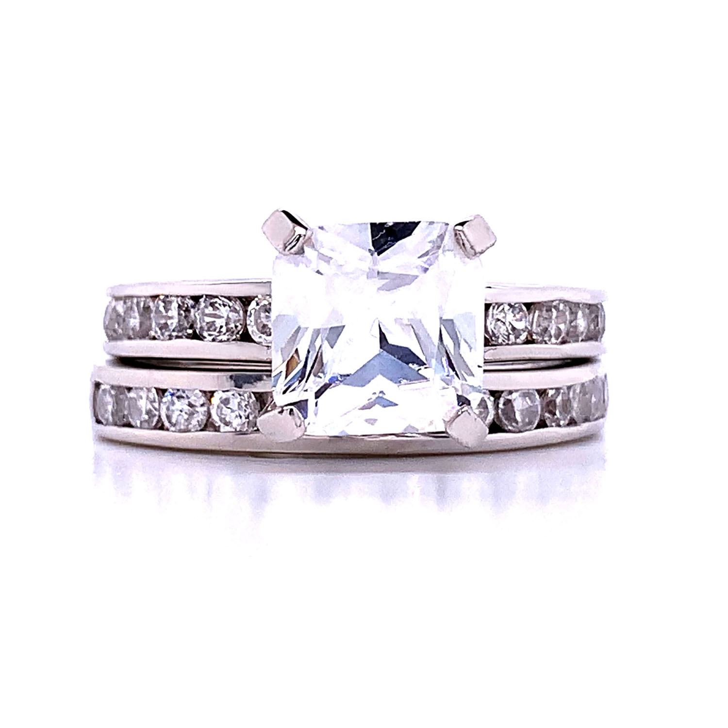 Choose with Stud Earrings FlameReflection Stainless Steel Rings for Women Infinity Wedding Set Round CZ Cubic Zirconia Wedding Sets for Women Halo Engagement Rings for Women Bridal Jewelry Set