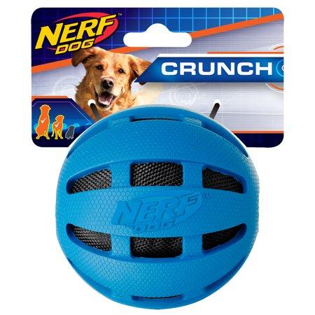 Nerf Dog 3.8in Checker Crunch Ball, Blue Dog Toy Dg Steel Nerf Bars
