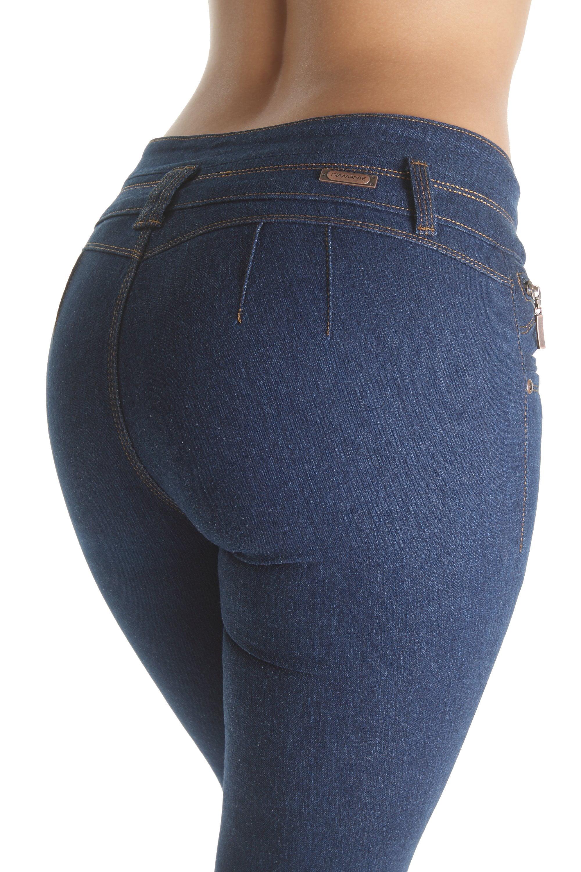 K346B-P - Plus Size, Butt Lifting, Levanta Cola, Fashion Mid Waist, Skinny Jeans
