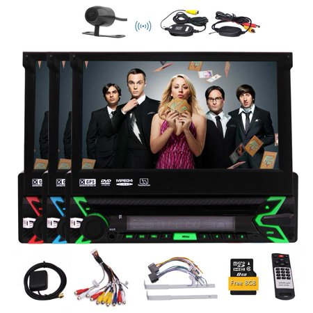 Car Stereo with Bluetooth, In-Dash Single Din Car Radio, 7 Inch Retractable Touch Screen, GPS Navigation Free 8GB Map Car, Car MP3 Player USB/SD/AUX/Wireless Remote Control & Rear Camera Included (Car Stereo With Google Maps)