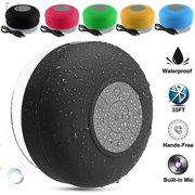 """GustaveDesign Bluetooth Wireless Waterproof Speaker Mini Portable Speakerphone with Built-in Mic, Control Buttons and Dedicated Suction Cup for Showers """"Black"""""""